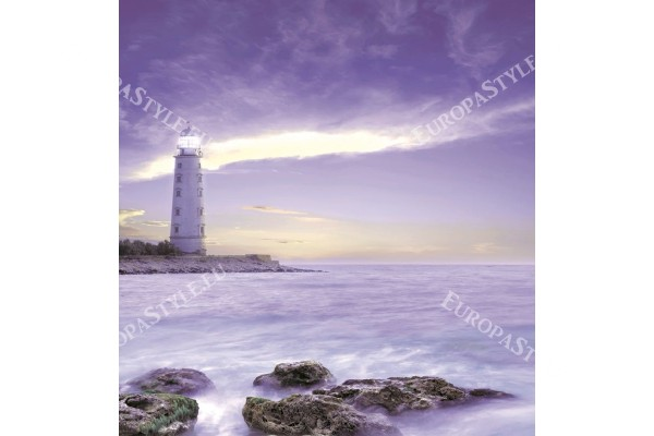 Фототапет красив морски фар в лилаво