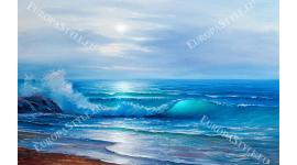 Фототапет уникално красив арт морски син изгрев
