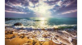 Фототапет цветен морски залез с златист пясък  в 2 варианта