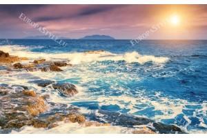 Фототапети бряг морски вълни и залез
