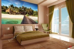 Фототапети морска пътека с палми и дъга