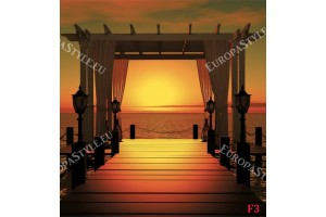 Фототапети мостик морски при красив залез в 2 цвята