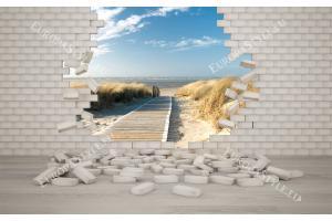 Фототапети тухлена стена с гледка морска пътека