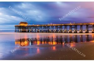 Фототапети светещ морски мостик нощен изглед