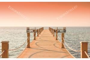 Фототапет мостик в оранжева гама