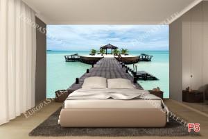 Фототапет морска романтика, палми и мостик
