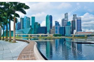 Фототапети дневен изглед на слънчев Сингапур