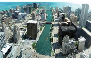 Фототапети панорамен дневен изглед на Чикаго