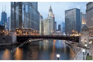 Фототапети панорамен дневен изглед на Чикаго и река