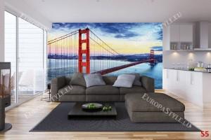 Фототапети дневен изглед на моста в Сан Франциско цветен