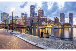 Фототапети цветен изглед от Бостън пристанище
