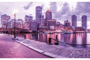 Фототапети цветен изглед от Бостън пристанище в 2 цвята