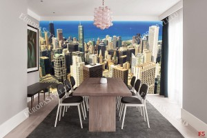 Фототапети градски изглед панорама Чикаго небостъргачи