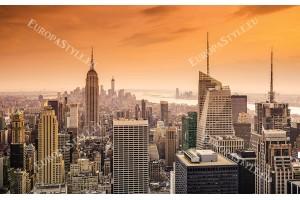 Фототапети изглед ню йорк небостъргачи в оранжева гама 2