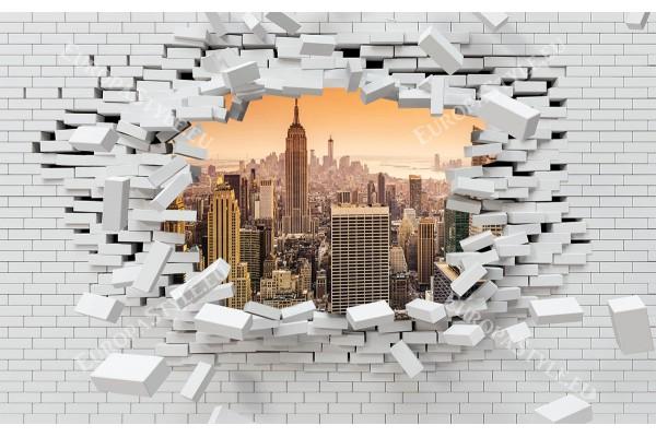 разбита тухлена стена изглед Ню Йорк в оранжево