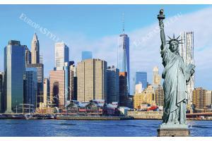 Фототапети панорама от Манхатън с статуята на свободата