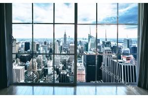 Фототапет градски пейзаж кулата в Манхатън през дограма в 2 цвята