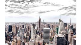 Фототапет панорамна гледка от Ню Йорк сиво небе