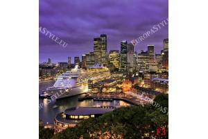 нощен изглед с круизен кораб от Сидни