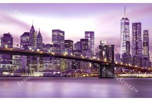 Фототапет Бруклинския мост в пастелно сияние в 2 цвята