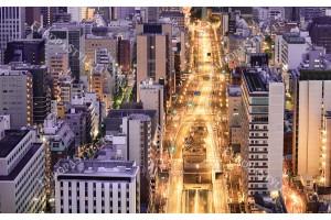 перфектен нощен изглед от височина на улица Токио 2 цв.