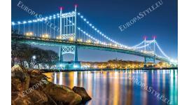 светещ нощен изглед на моста Кенеди в Ню Йорк 2 цвята