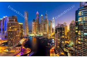 Фототапет уникален светещ нощен изглед Дубай