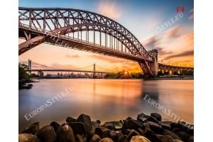 Фототапет изглед по залез на моста Триборо в Ню ЙОРК