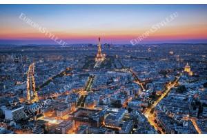Фототапети нощен изглед на залез в Париж в 2 цвята