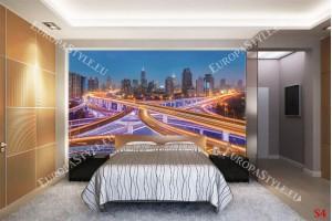 Фототапети нощен атрактивен изглед светещ Шанхай
