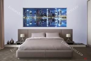 Фототапети огледален образ на нощен град със светлини син