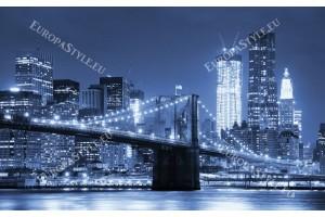Фототапети нощна гледка с мост на Манхатън в 3 цвята