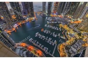 Фототапети нощен изглед на Дубай пристанище Марина