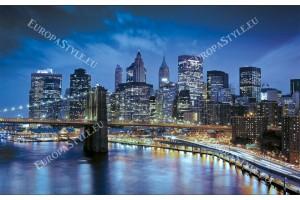 Фототапет крайбрежие Манхатън нощен изглед син