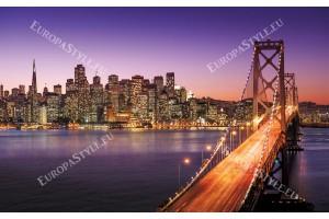 Фототапет нощен изглед мост в лилаво