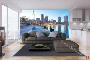 Фототапет градско крайбрежие с лампа на син фон
