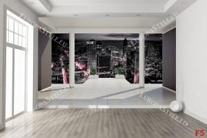 Фототапет изглед стая нощен град 3д ефект