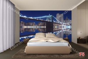 Фототапети бруклинския мост огледален образ син фон 2