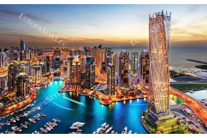 Фототапети красив нощен изглед на Дубай в 2 цвята