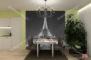 Фототапети светещата Айфелова кула в сиво
