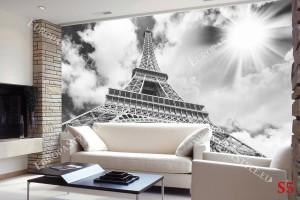 Фототапети Айфеловата кула на сив фон и слънце