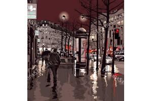 Фототапети улица в Париж графика в 2 цвята