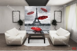 Фототапети Айфеловата кула и червени чадъри