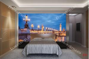 Фототапети осветен мост в Париж Франция