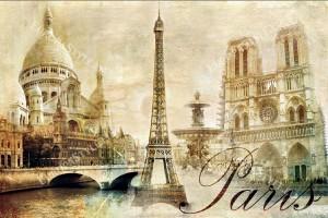 Фототапети изглед колаж Париж