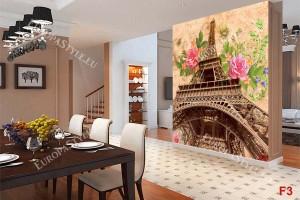 винтидж цветна композиция париж с рози в 2 варианта