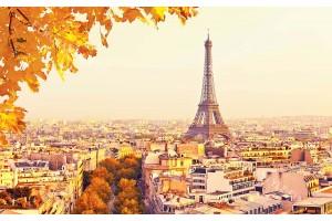 панорамен изглед Париж и Айфеловата кула листа