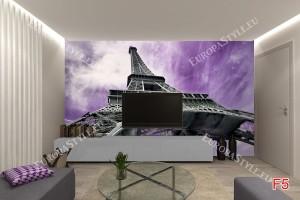 Фототапет Айфеловата кула на лилав фон
