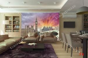 Фототапети изглед на Лондон с пурпурно небе