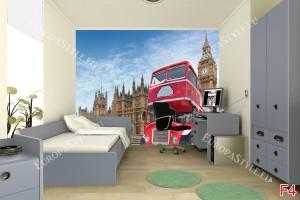Фототапет Лондон Биг Бен и червен бус